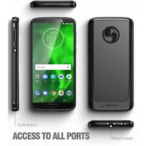 For Moto G6 Case Hybrid Rugged Shockproof Carbon Fiber Protective Cover Black