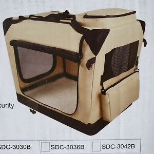 """EliteField 3-door Soft Folding Dog Crate Beige Size 24""""L x 18""""W x 21""""H to 25lbs"""
