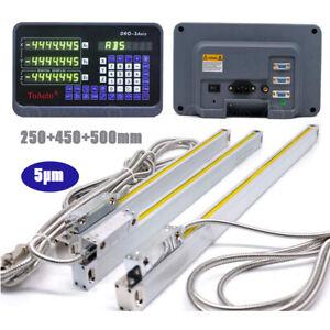3 Achsen Digitalanzeige DRO 5µm Lineare Skala 250+450+500mm Kit Drehmaschine CNC