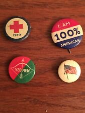 (4) Vintage Pinbacks Buttons (1919 Red Cross, I Am 100% American, Yeomen, Flag)