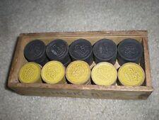28 ANTIQUE CHECKERS or DRAUGHTS 12 Boxwood 12 Ebony Full Set Original  Box 1900s