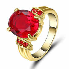 Vintage Big Oval Red Stone Ruby Engagement Ring 10KT Yellow Gold Filled Size 7