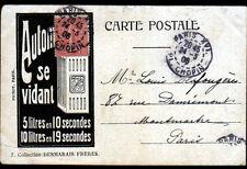 """PARIS IV° COLONNE JUILLET / Publicité HUILE pour AUTOMOBILE """"AUTOMOBILINE"""" 1905"""