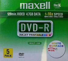 ($0 P & H) Maxell Pro-X Inkjet Printable Disc DVD-R 5 Pk Jewell case 16x speed