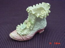 Vintage Porcelain Lace Shoe Tilso Boot Hand Painted Pink Frill Dainty Decoration