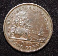 1852 LOWER CANADA HALFPENNY TOKEN - Quebec bank un sou