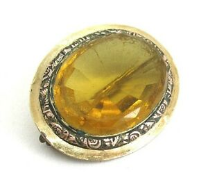 """10K Yellow Gold and Amber Pin 8.7 grams 1 1/4"""" x 1""""    lot 33w6"""