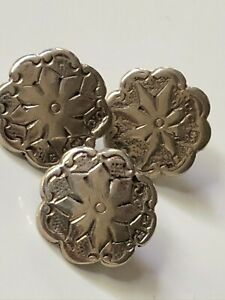 3 x antique Victorian vintage solid silver round floral buttons fully h'marked