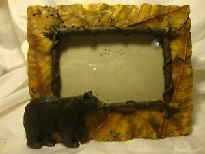 """Black Bear Natural Brown Resin Stone Tabletop Photo Frame 3.5""""x5"""" Picture    406"""