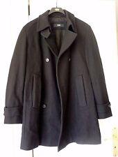 HUGO BOSS Manteau Noir Veste Noire Laine Vierge Homme T50
