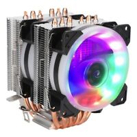 WISENOVO 6 Heat Pipes 2 CPU Cooler 12V 3Pin Colorful Lights Air Cooling Fan MS