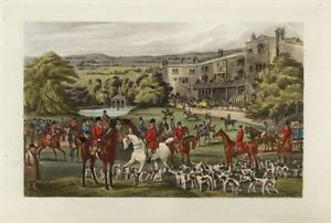 FOXHOUNDS HORSES ENGLISH COUNTRY GENTLEMEN SPORTSMAN GATHER FOR FOX HUNTING