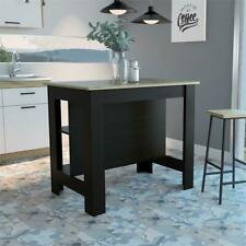 Tuhome Furniture Cala Engineered Wood Kitchen Island in Espresso and Light Oak