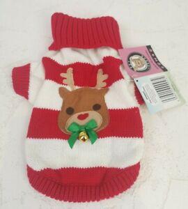 Pet London Designer Pet Costume Dog Bodysuit Christmas Red Reindeer White P645