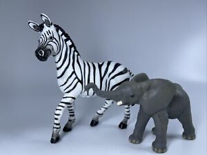 Lot of 2 Papo PVC Figures - Baby Elephant & Black White Zebra 2004 2010