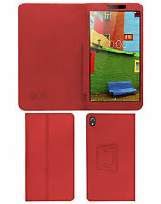 "ACM-EXECUTIVE LEATHER FLIP CASE for LENOVO PHAB 6.98"" TABLET COVER STAND - RED"