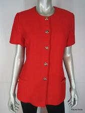 ST JOHN Jacket 8 M Red Short Sleeve Textured Waffle Knit Gold Button Down Work