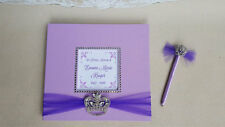 Custom Funeral Guest Book- crown princess queen memorial service sign purple