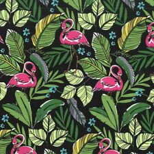 Michael Miller FLAMINGOS IN PARADISE Tropical Hawaiian Flamingo Fabric - Black