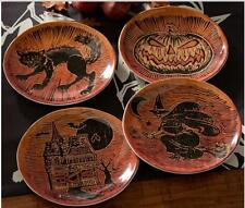 Pottery Barn Spooky Halloween Icon Salad Plates Set of 4~ New Vintage Inspired