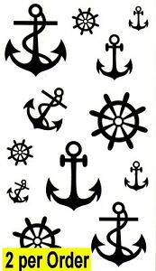Anchor 2 Waterproof Temporary Tattoos Transfer Rudder Celebrity Pirate Sailor