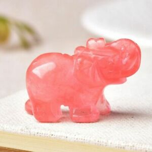Figurine Tangling Jade Elephant Gemstone Natural Crystal for Gift Healing Decor