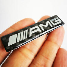 2 Pcs Carbon Fiber Style ABS AMG Badge Decal Chrome Sticker Emblem For Mercedes