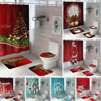 4PCS Merry Christmas Shower Curtain Bathroom Anti-slip Rug Toilet Cover Mat Set