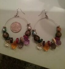 dangle native ethnic colorful jewels Earrings chunky beads beaded hoops silver