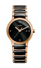 New Rado Centrix Black Ceramic/Rose Gold Bracelet Black Diamond Dial R30555712