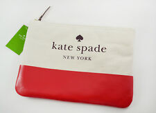 NWT Kate Spade Gia Large Pouch Clutch ASH STREET CANVAS prikly pear $69