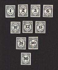 USA #O47P-O56P 1873 Official Stamp POST OFFICE 10v proofs in black on paper