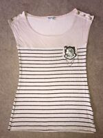 New Look Lovely Striped Top Nude & Back Sailer Uk Size 12 VGC !