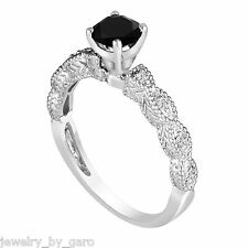 Enhanced Black Diamond Engagement Ring 14K White Gold Engraved 0.79 Carat