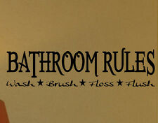 BATHROOM RULES WASH  DECAL VINYL WALL STICKER WASHROOM LETTERING WORDS QUOTES