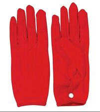 Adult Short RED Gloves Premium Parade Glove Snap Closure Wrist Womens Costume