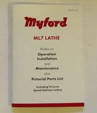 NUOVO MYFORD ML7 tornio funzionamento e parti manuale da Myford Ltd
