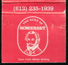 OTTAWA CANADA Duke of Somerset Restaurant Bar Vintage Match Book Cover Old MB