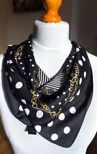 100%twill silk scarf 60cmx60cm.Striking polka dot design.Gift wrapping available