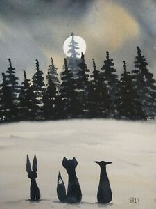 Original watercolour painting.  Best friends moonlight meeting.