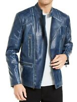 INC Mens Braxton Moto Jacket Blue Large L Washed Faux Leather Quilted $129 116