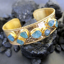Handmade Designer Large And Heavy Apatite Bracelet 22K Gold Over Sterling Silver