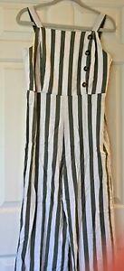 C&C California Linen Jumpsuit Green & Off White Stripe Size Womens Medium