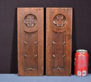 *Pair of Gothic Carved Architectural Panels/Trim in Solid Oak Wood Salvage