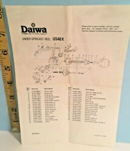 Vintage Daiwa Under Cast Fishing Reel US40X Parts List