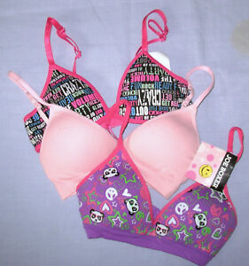 3 Joe Boxer / Bongo 30A Girls Bra wirefree molded purple panda - pink black 30 A