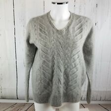 NEIMAN MARCUS Women's 100% Cashmere Solid Gray V-Neck Cable Knit Sweater sz M