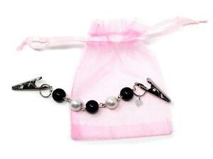 Black & Pearl Sweater Guard, Cardigan, Scarf Clip - Organza Gift Bag - Hey Viv