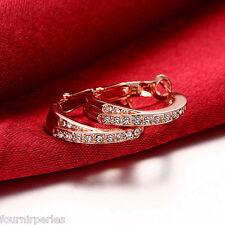 FP 1 Paire Boucles d'Oreilles Anneau Strass Bijoux Fantaisie Cadeau Rose d'or