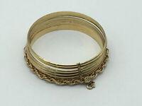 Vintage Monet Set of 6  Gold Tone Bangle Bracelets with Chain